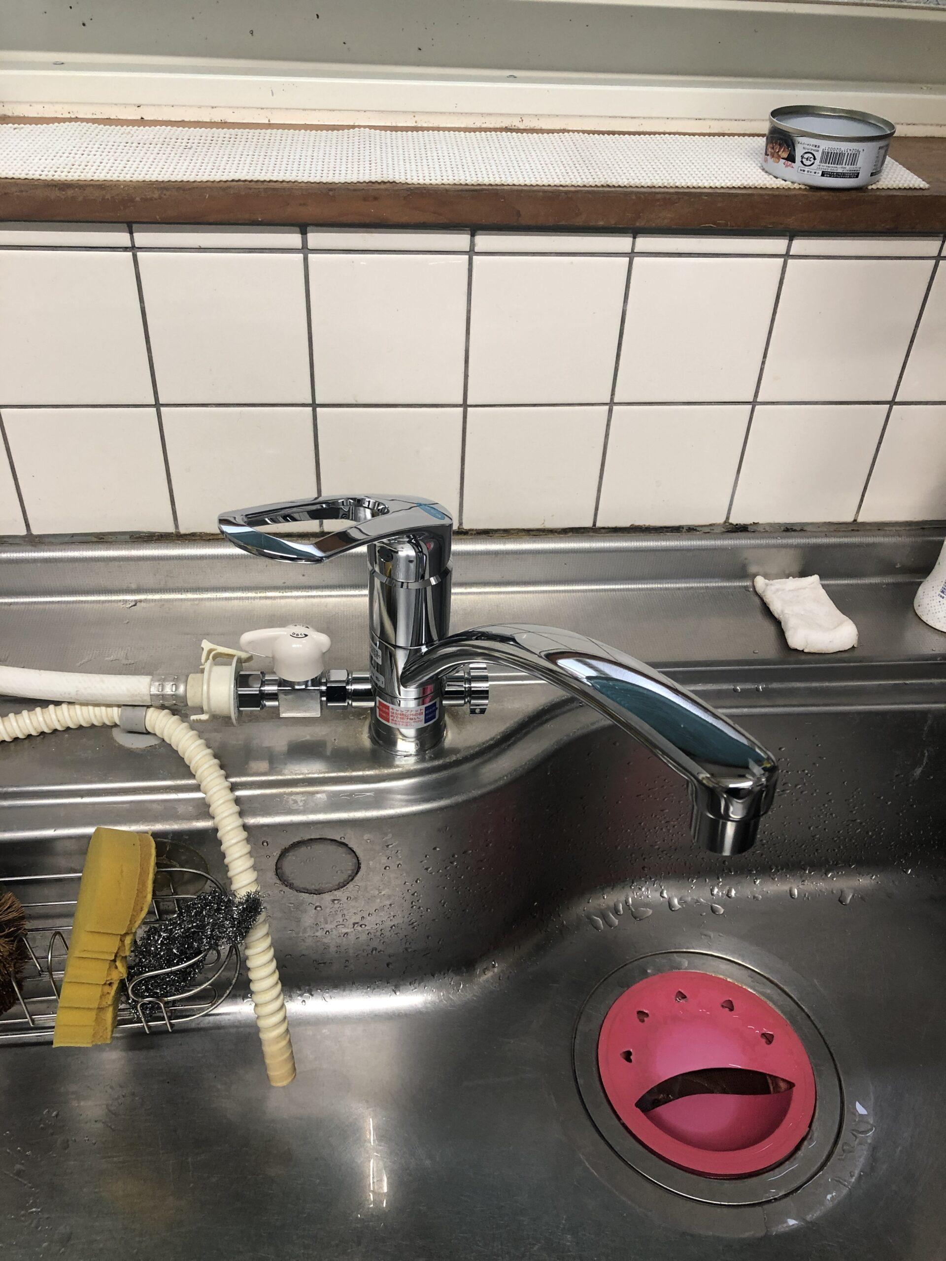 キッチン水栓交換後の写真